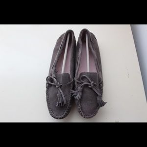 Shoes - Women Gray Flat Loafers Shoes